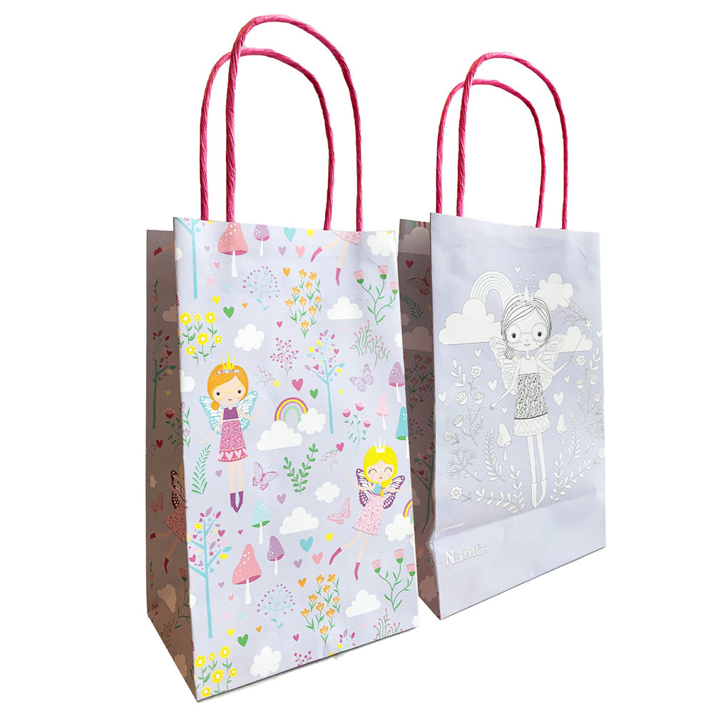 Fairy Princess Colour-In Paper Party Bags - Pack of 6