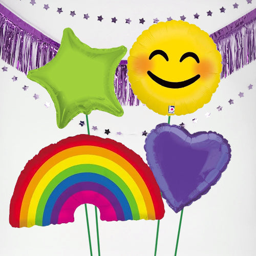Inflated Rainbow & Smiley Feel Good Balloon Bundle in a Box