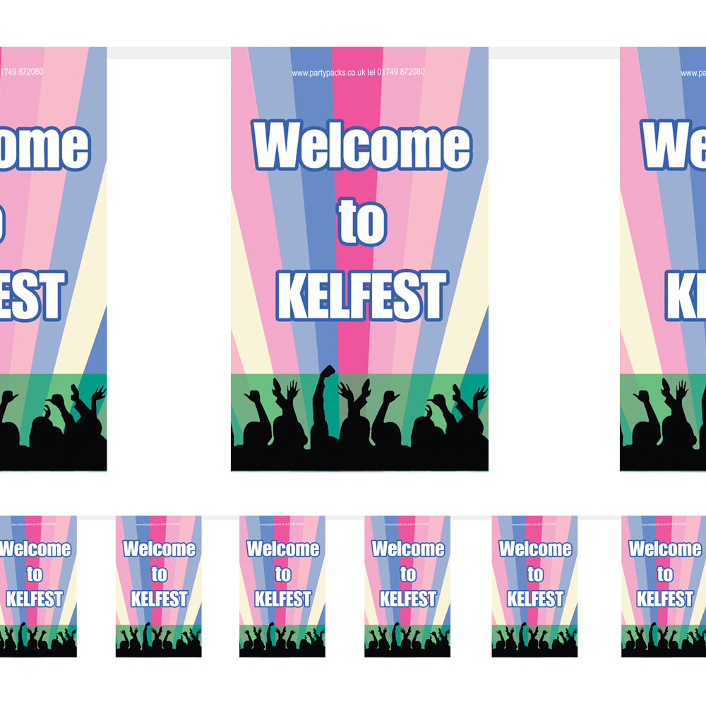 Personalised Festival Bunting - 12 Flags - 3m