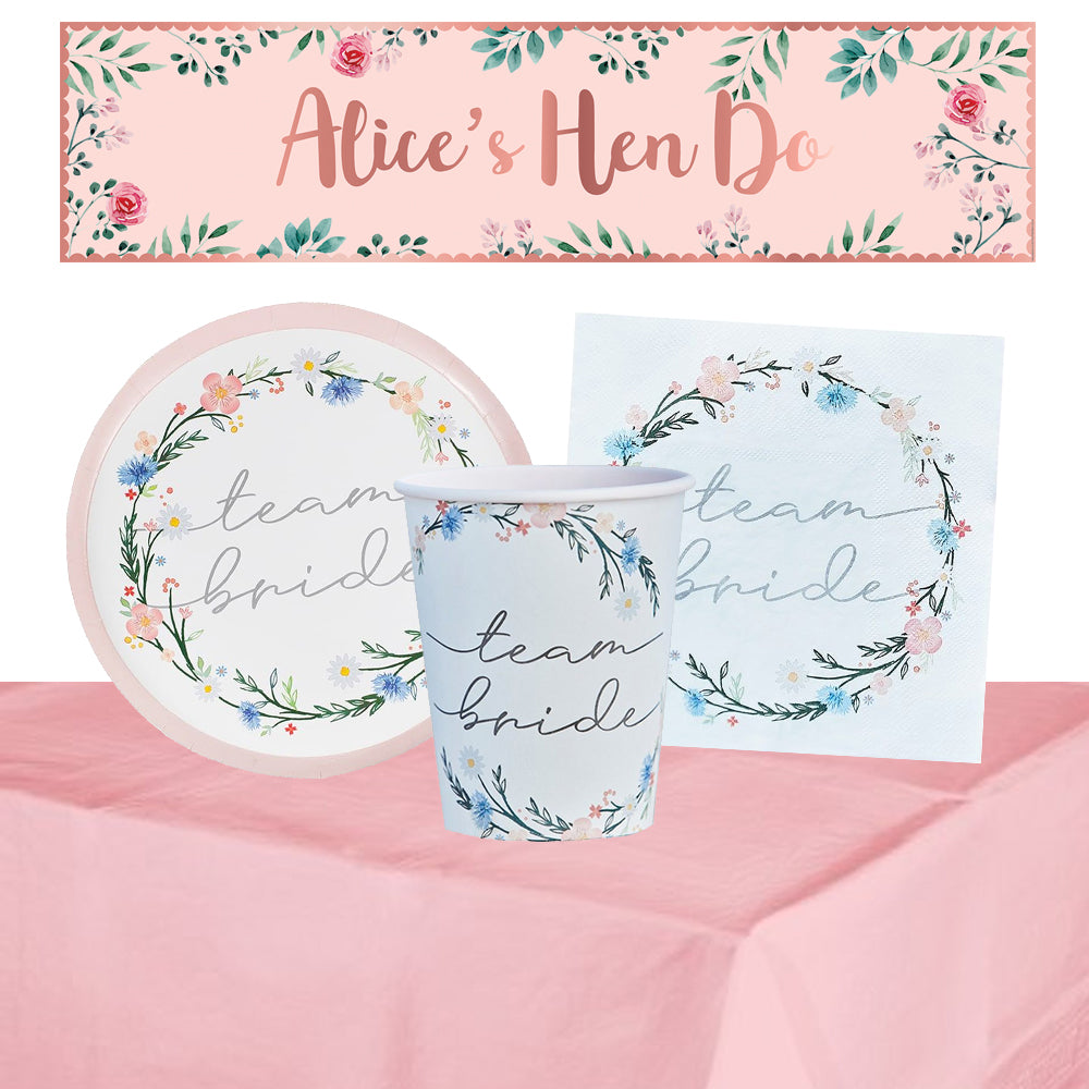Floral Hen Party Tableware Pack for 8 with FREE Personalised Banner!