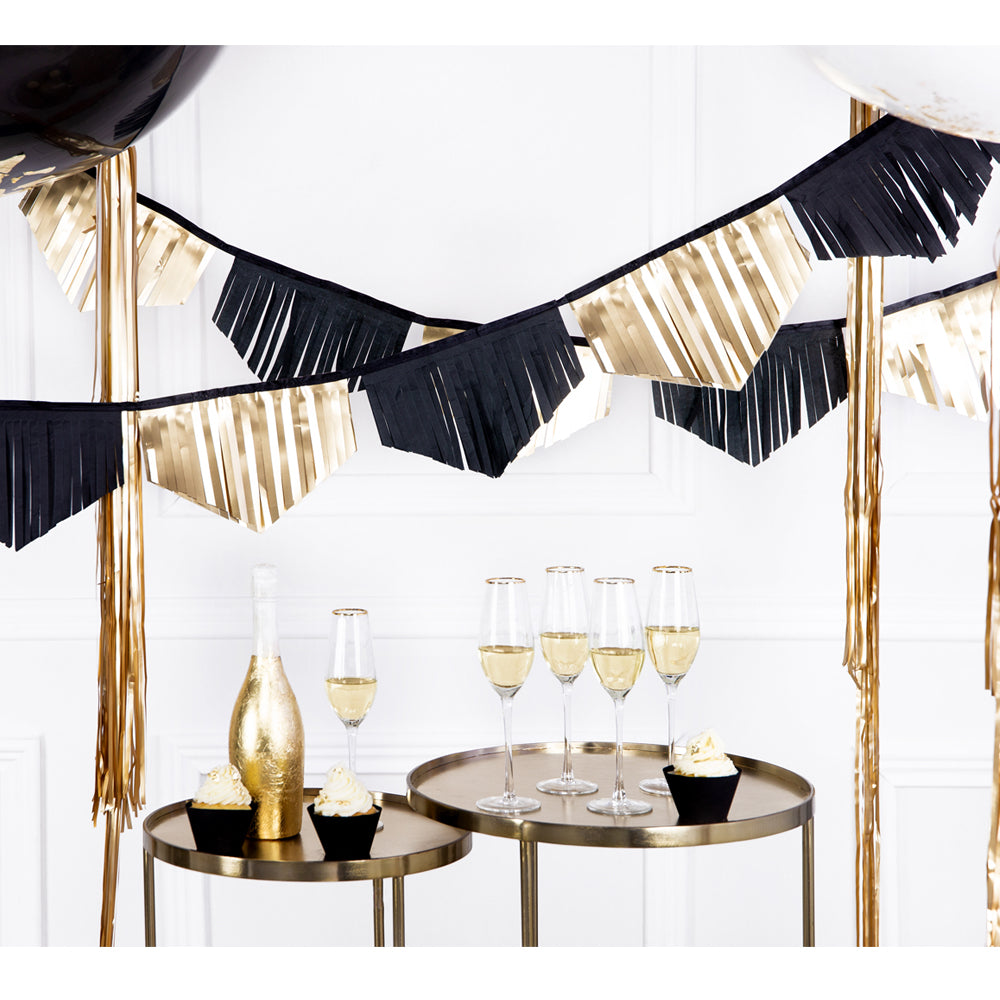 Black and Gold Fringe Garland