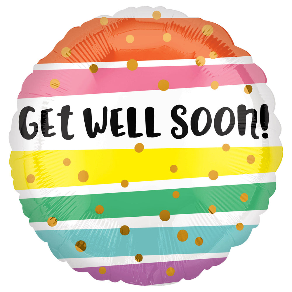 Get Well Soon Colourful Stripes Foil Balloon - 18""