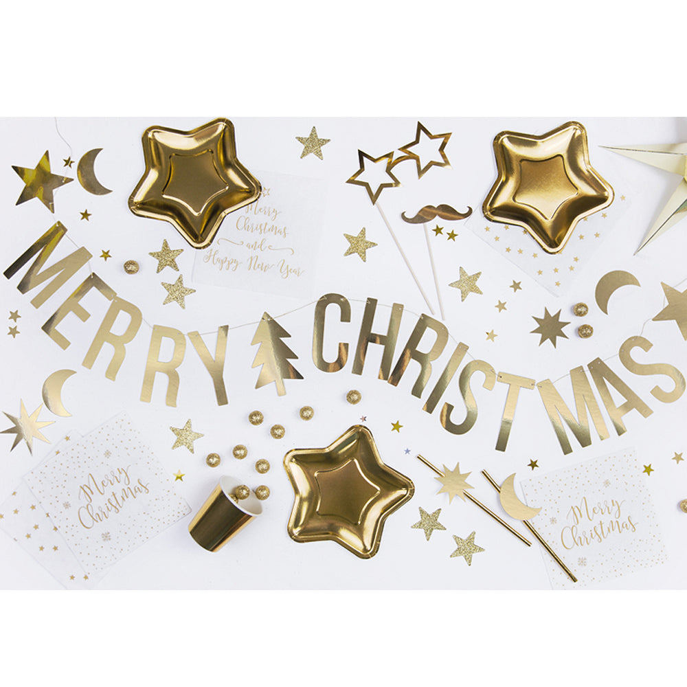 Gold 'Merry Christmas' Banner - 1.5m