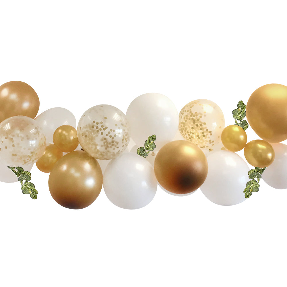 White and Gold Balloon Arch With Eucalyptus Foliage DIY Kit - 2.5m