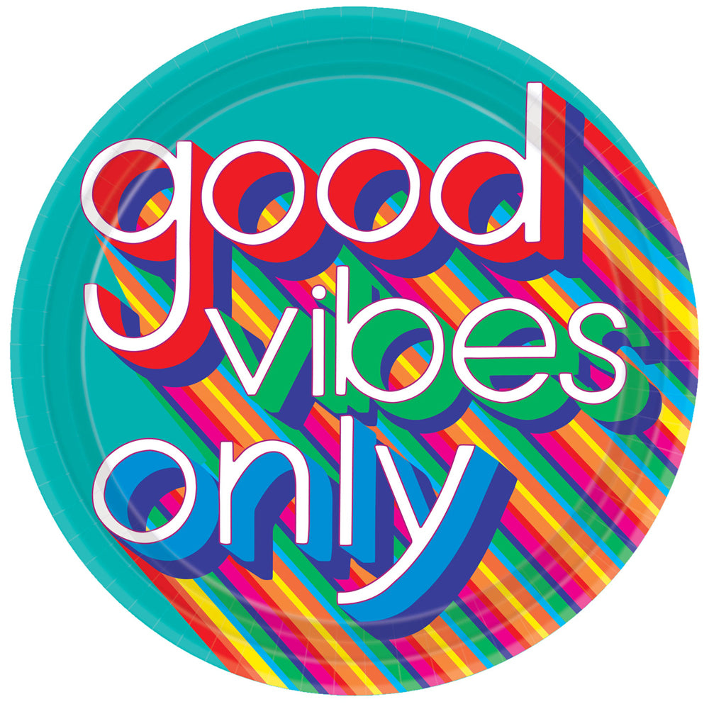 "70's Good Vibes Paper Plates - 10"" - Pack of 8"