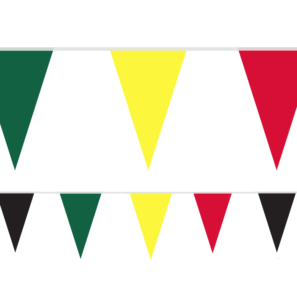 Reggae Green, Yellow, Red and Black Fabric Pennant Bunting - 24 Flags - 8m