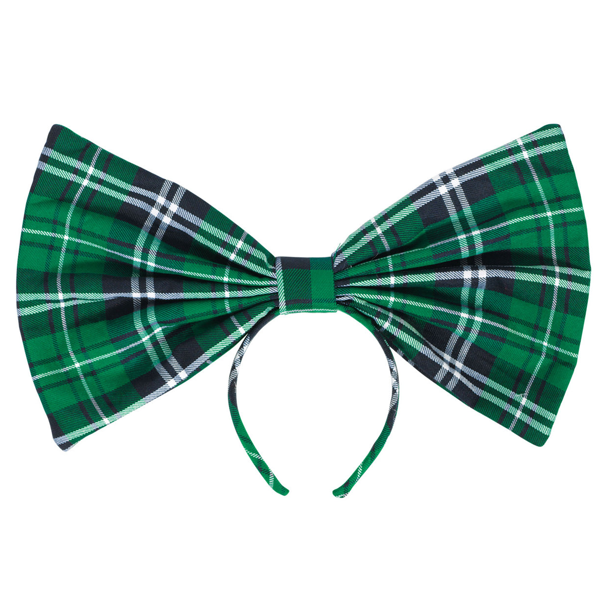 St Patrick's Oversized Green Tartan Bow on Headband
