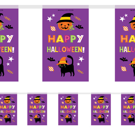 Cat & Pumpkin Halloween Paper Flag Bunting Decoration - 2.4m