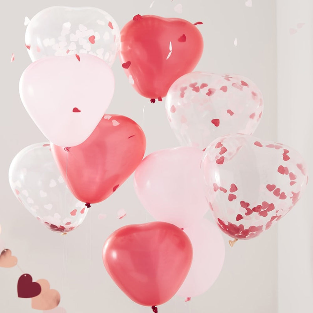 Pink, Red & Clear Confetti Heart Shaped Balloons - Pack of 10