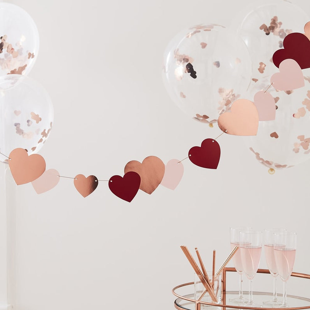 Rose Gold, Red & Pink Heart Bunting - 2m