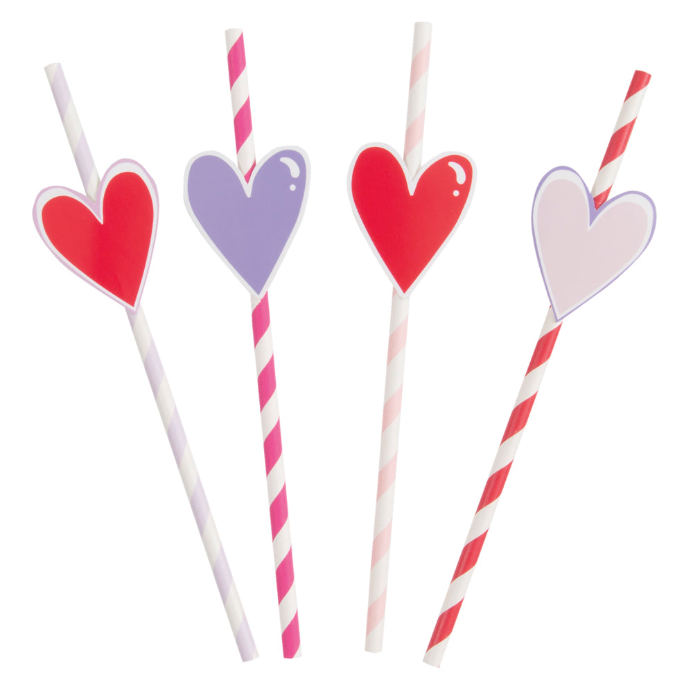 Striped Paper Straws with Heart - Pack of 8