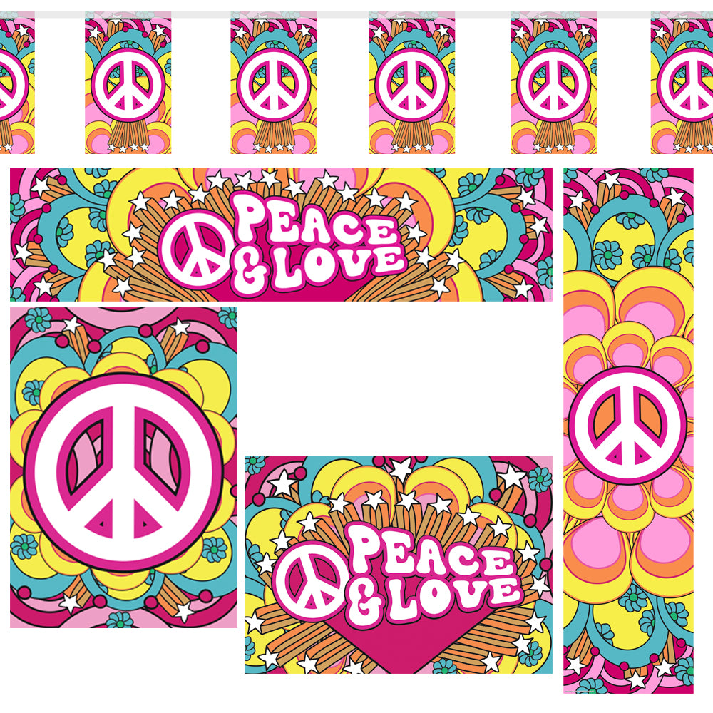 60's Hippie 'Peace & Love' Themed Decoration Pack