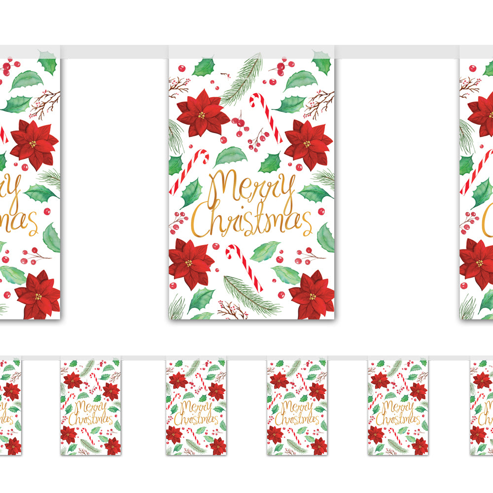 Holly & Poinsettia Merry Christmas Paper Flag Bunting Decoration - 2.4m