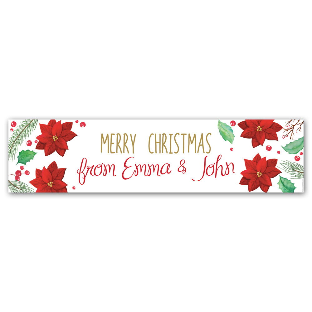 Holly & Poinsettia Christmas Personalised Banner - 1.2m
