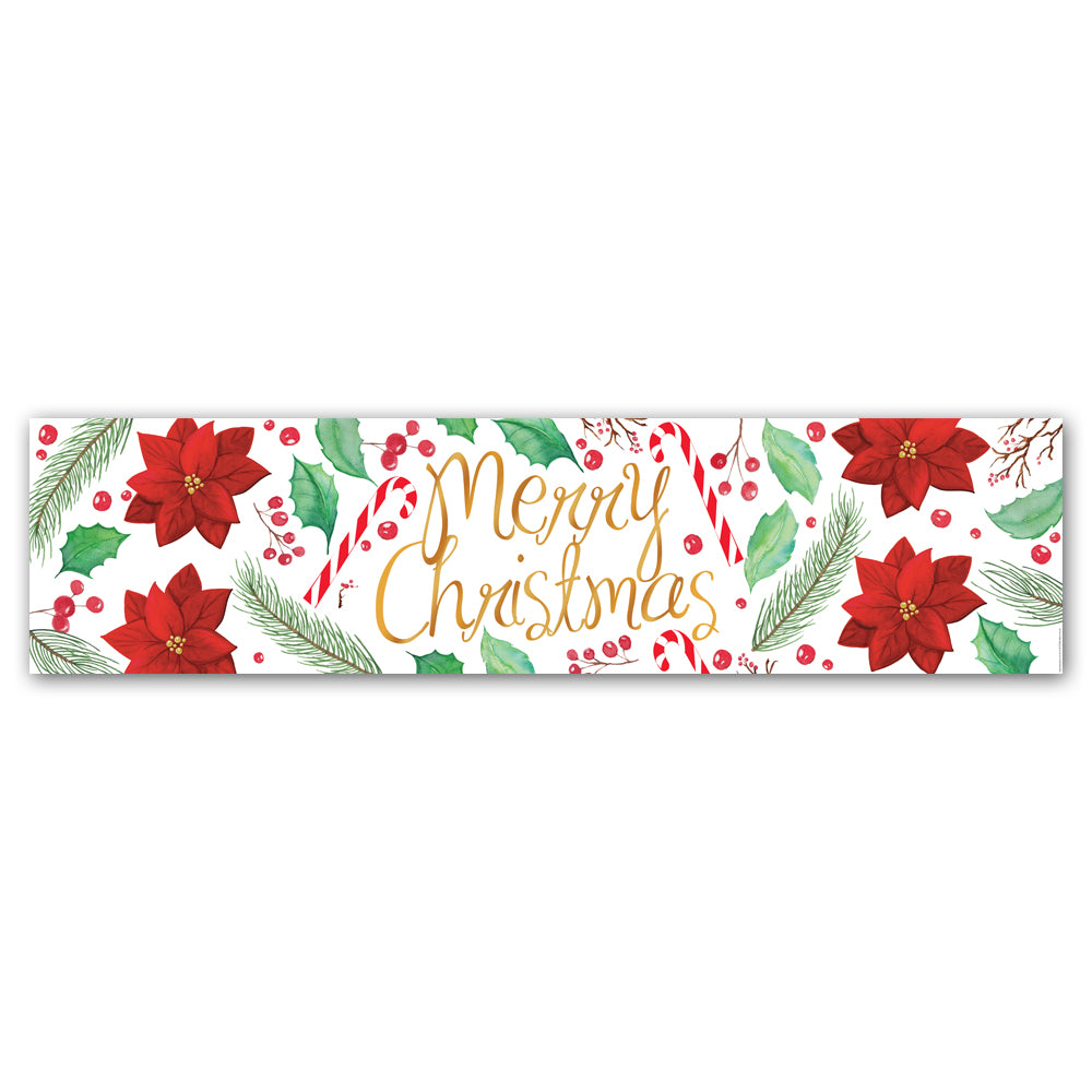 Holly & Poinsettia Merry Christmas Banner Decoration - 1.2m