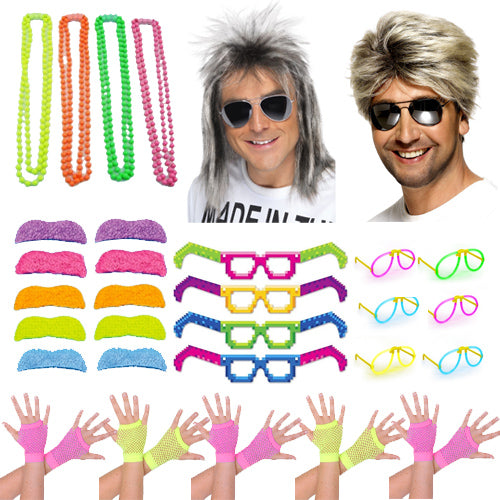 1980s Fancy Dress Pack For 10 People