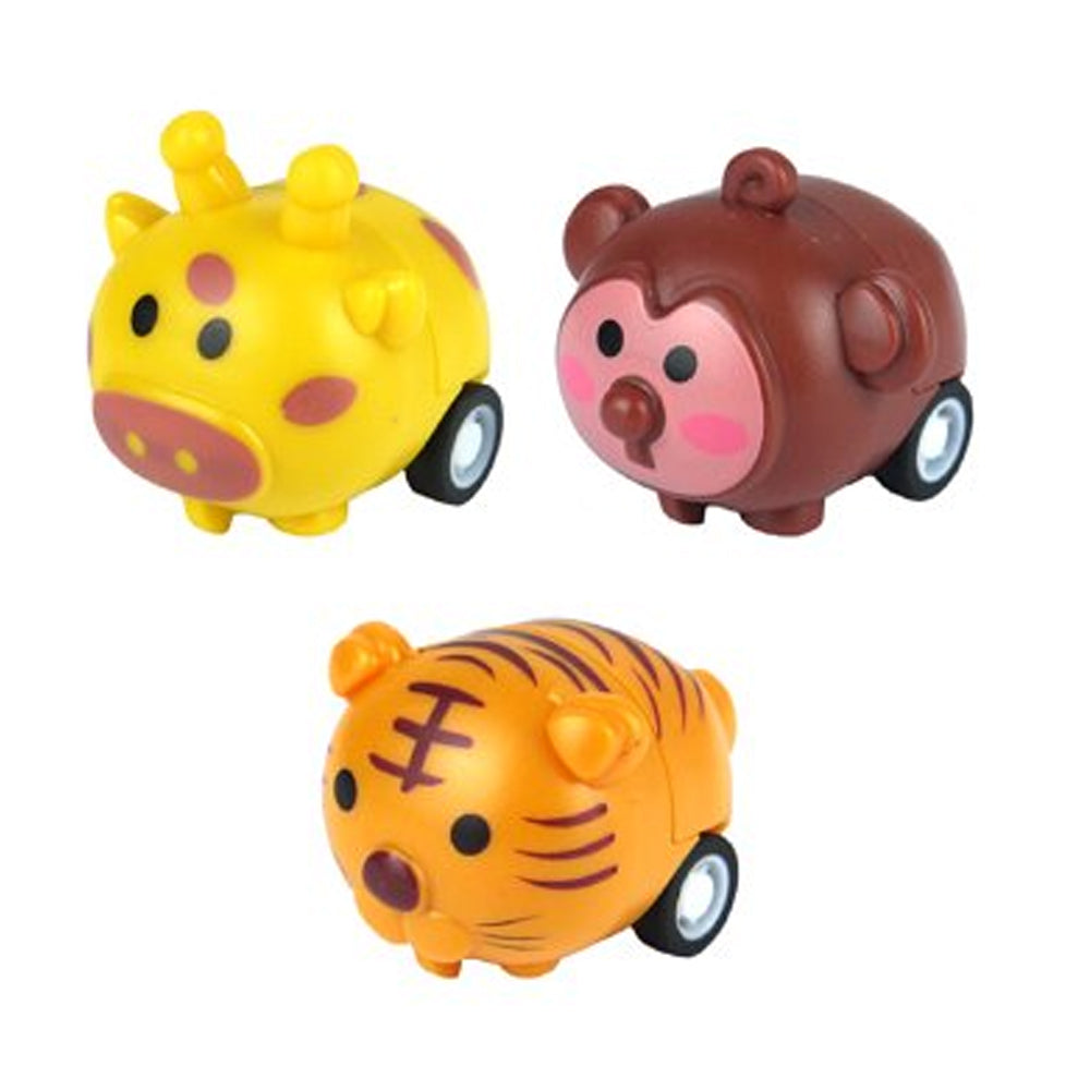 Jungle Animal Pull Back Racer Toy - 4cm - Assorted Designs - Each