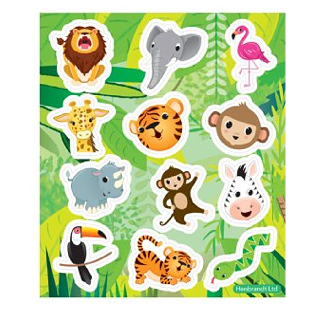 Jungle Stickers - 11.5cm - sheet of 12