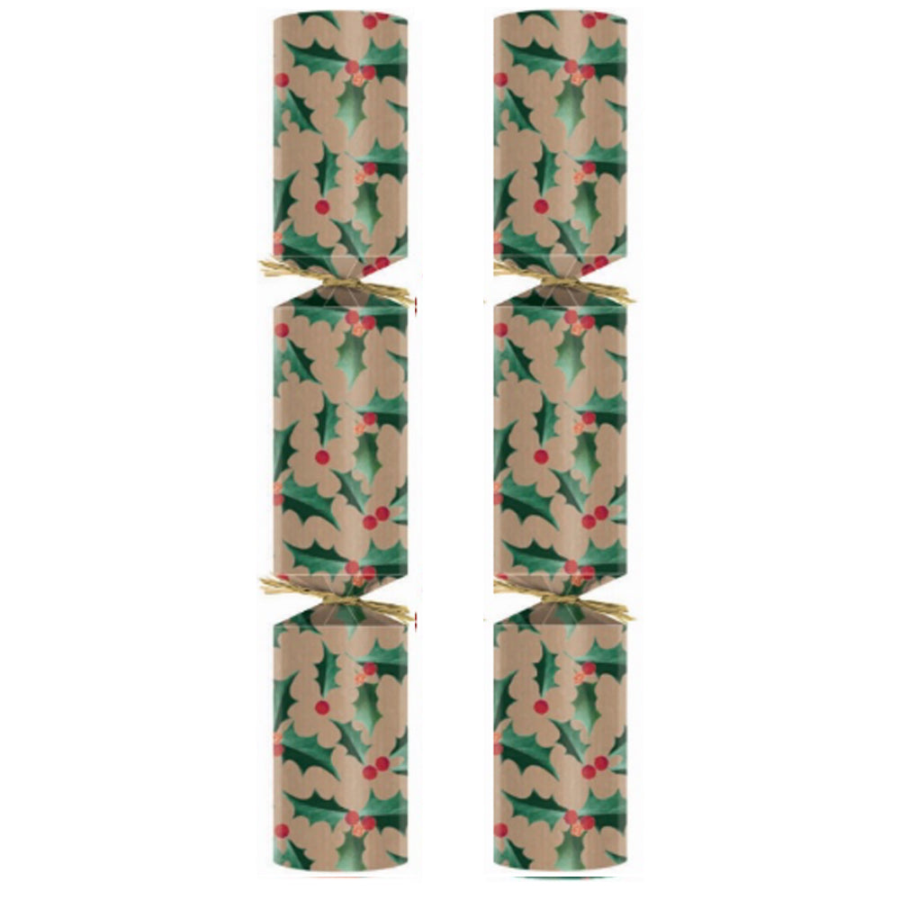 "Eco Friendly Christmas Crackers - Kraft Holly - 11"" - Each"
