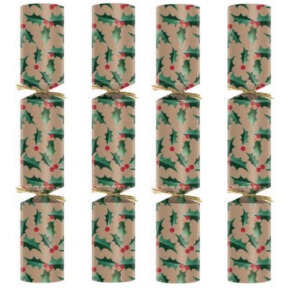 Eco Friendly Kraft Holly Christmas Crackers - Box of 100