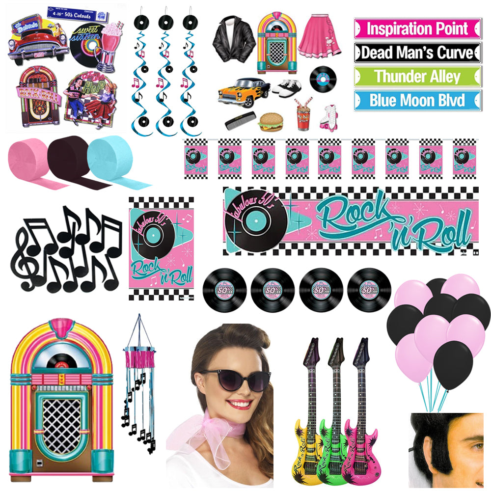 Large 1950's Rock 'n' Roll Decoration and Fancy Dress Party Pack