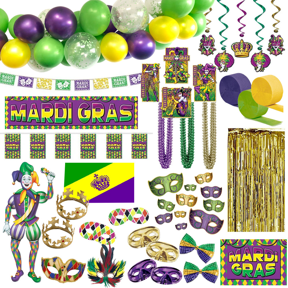 Mardi Gras Large Decoration and Novelty Party Pack