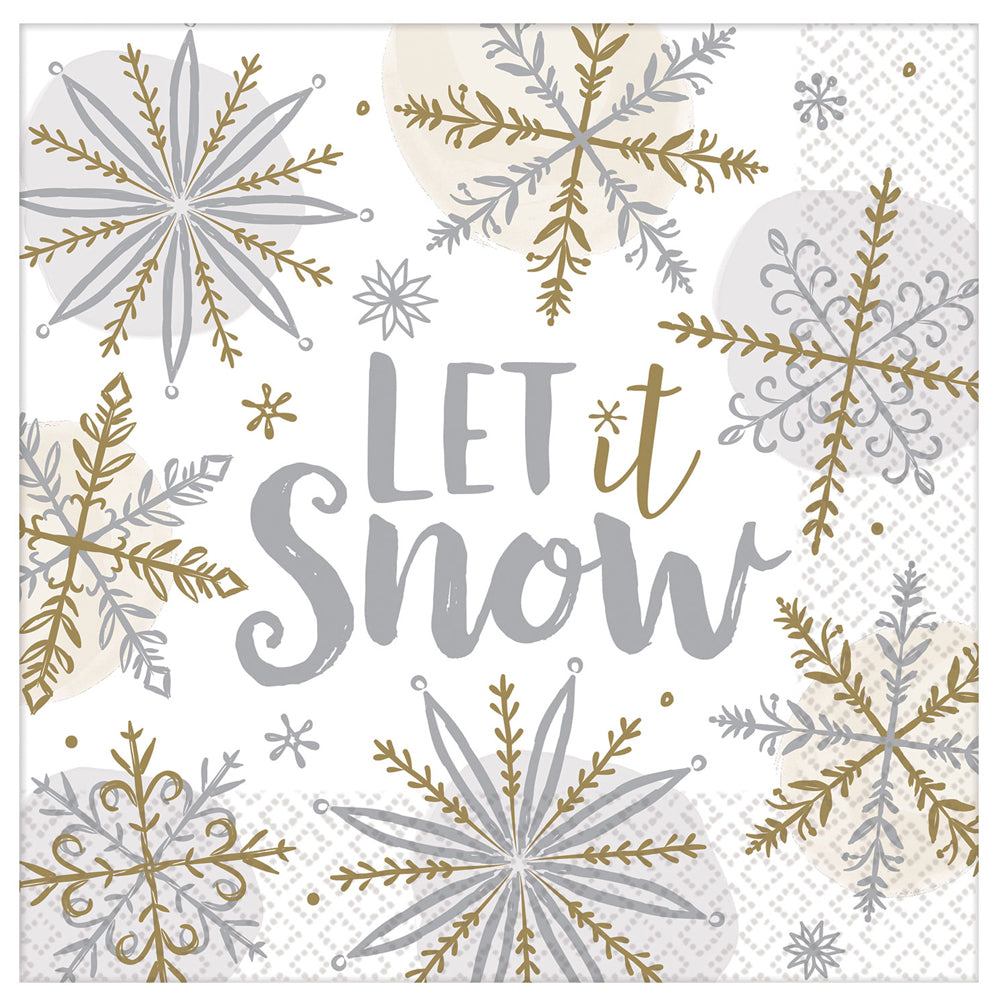 Let it Snow Christmas Paper Napkins - Pack of 16