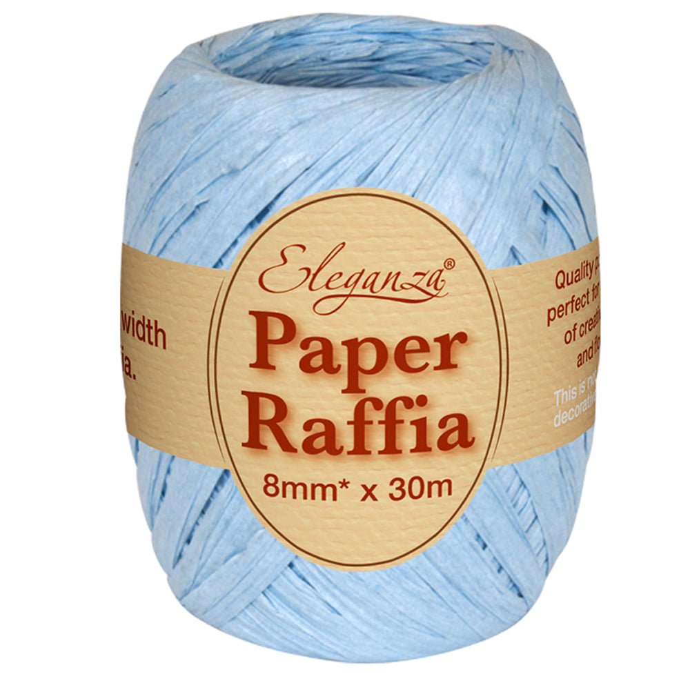 Roll of Light Blue Paper Raffia - 30m