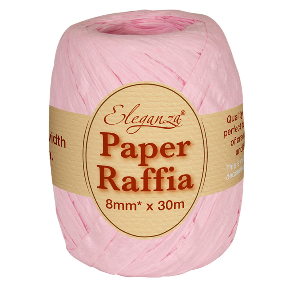 Roll of Light Pink Paper Raffia - 30m