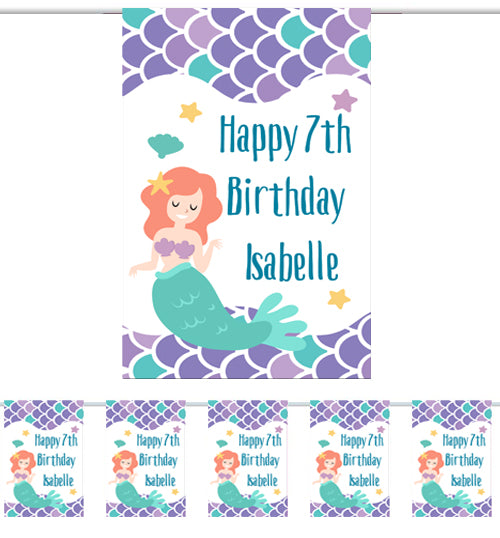 Personalised Mermaid Bunting - 3m