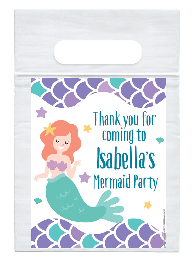 Personalised Mermaid Card Insert with Sealed Party Bag - Each
