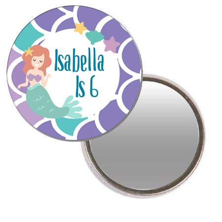 Mermaid Personalised Pocket Mirror - 58mm - Each