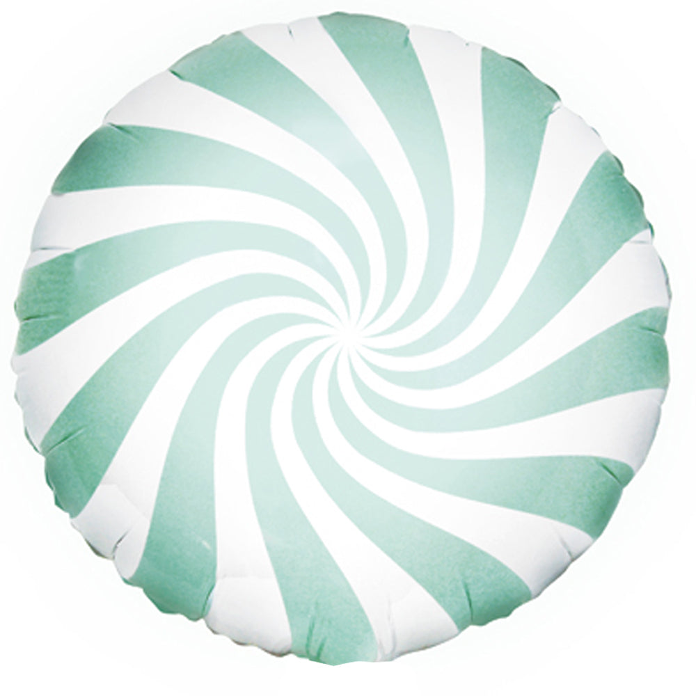 Mint Green Candy Swirl Foil Balloon - 14""