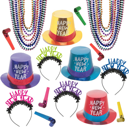 Multicolour New Year Hat and Novelty Pack for 20
