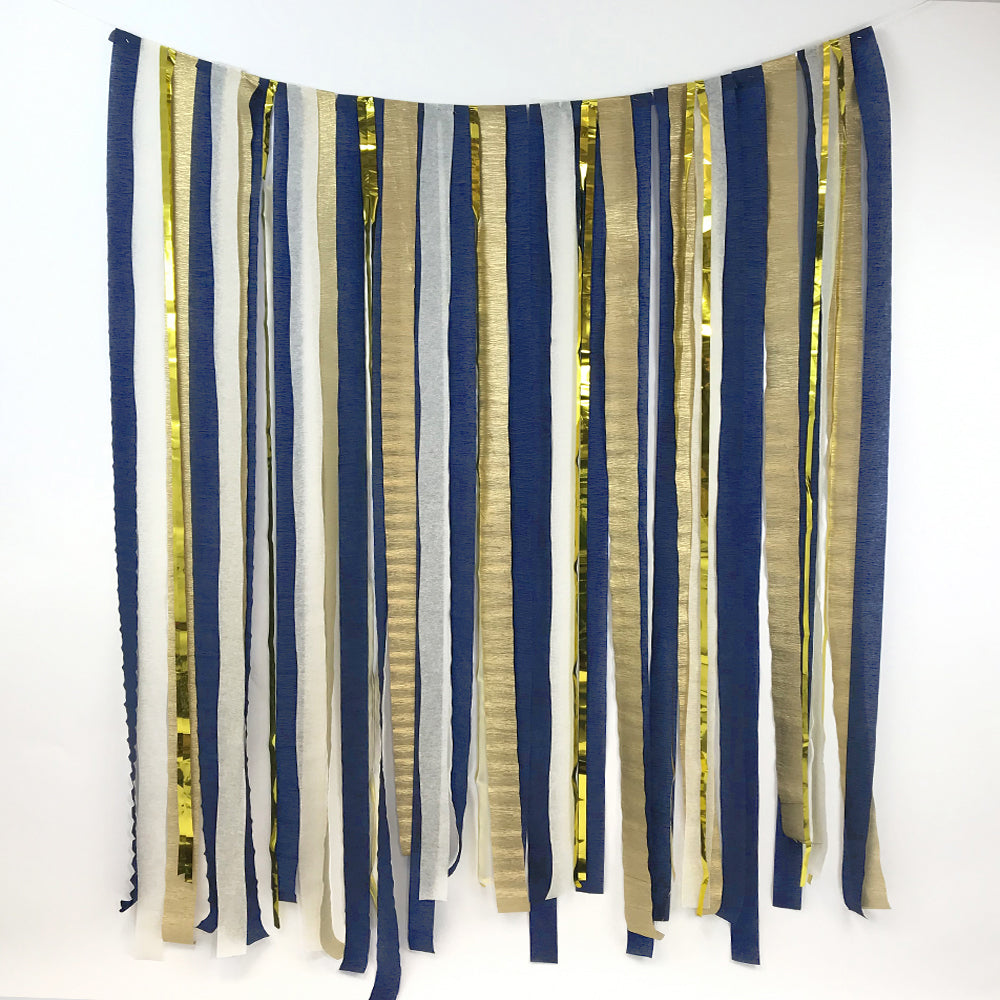 Navy Blue, Cream & Gold Paper Streamer DIY Backdrop Kit