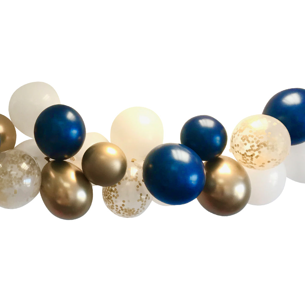 Navy Blue, Gold and White Balloon Arch DIY Kit - 2.5m