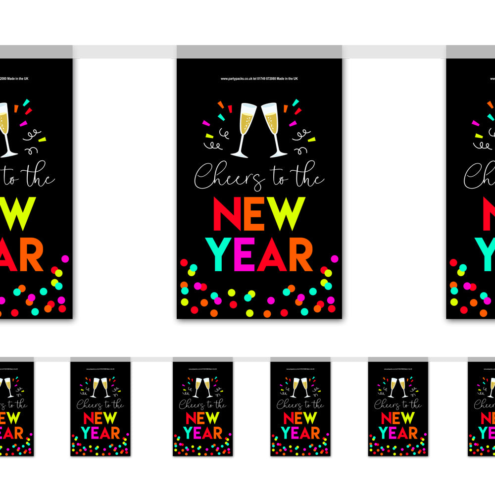 Neon New Year 'Cheers to the New Year' Paper Flag Bunting Decoration