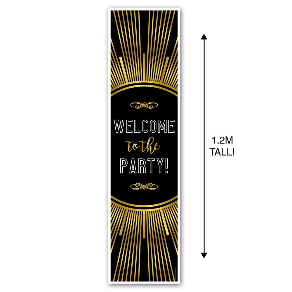 New Year's Eve Gold Welcome to the Party Portrait Wall & Door Banner Decoration - 1.2m