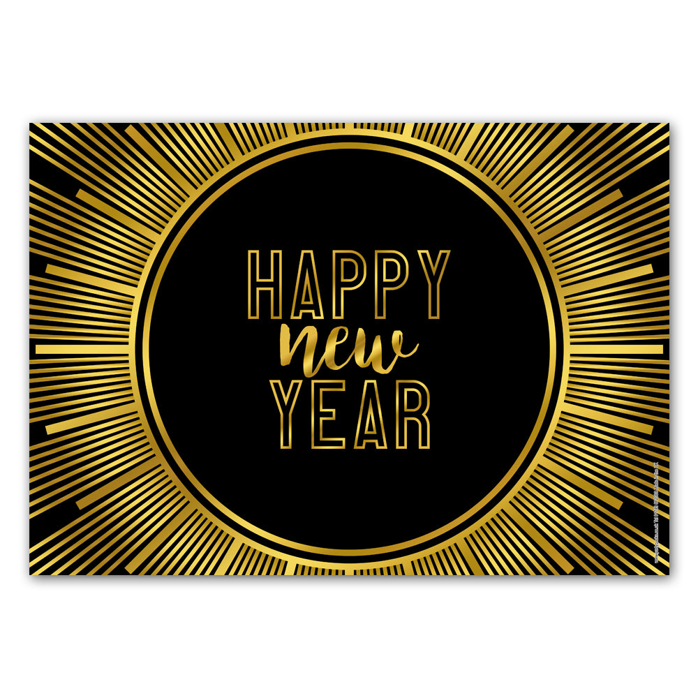 New Year's Eve Gold 'Happy New Year' Poster Decoration - A3