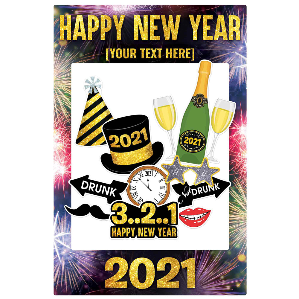 Personalised Giant New Year 2021 Selfie Frame With Props - 122cm
