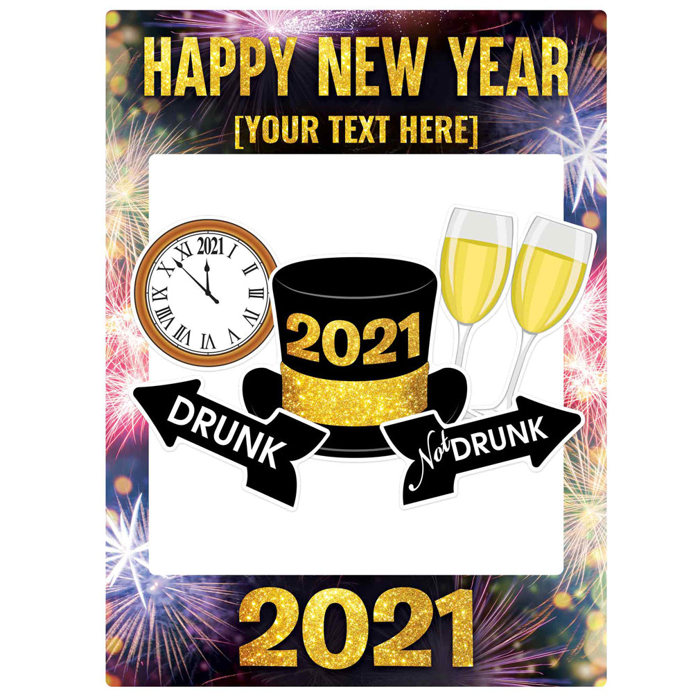 Personalised New Year 2021 Selfie Frame With Props - 79cm