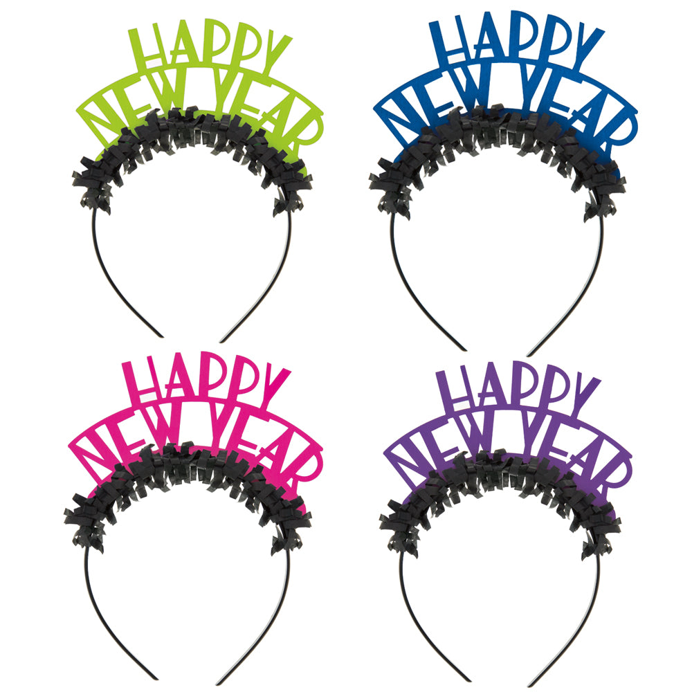 Happy New Year Neon Headbands - Pack of 4