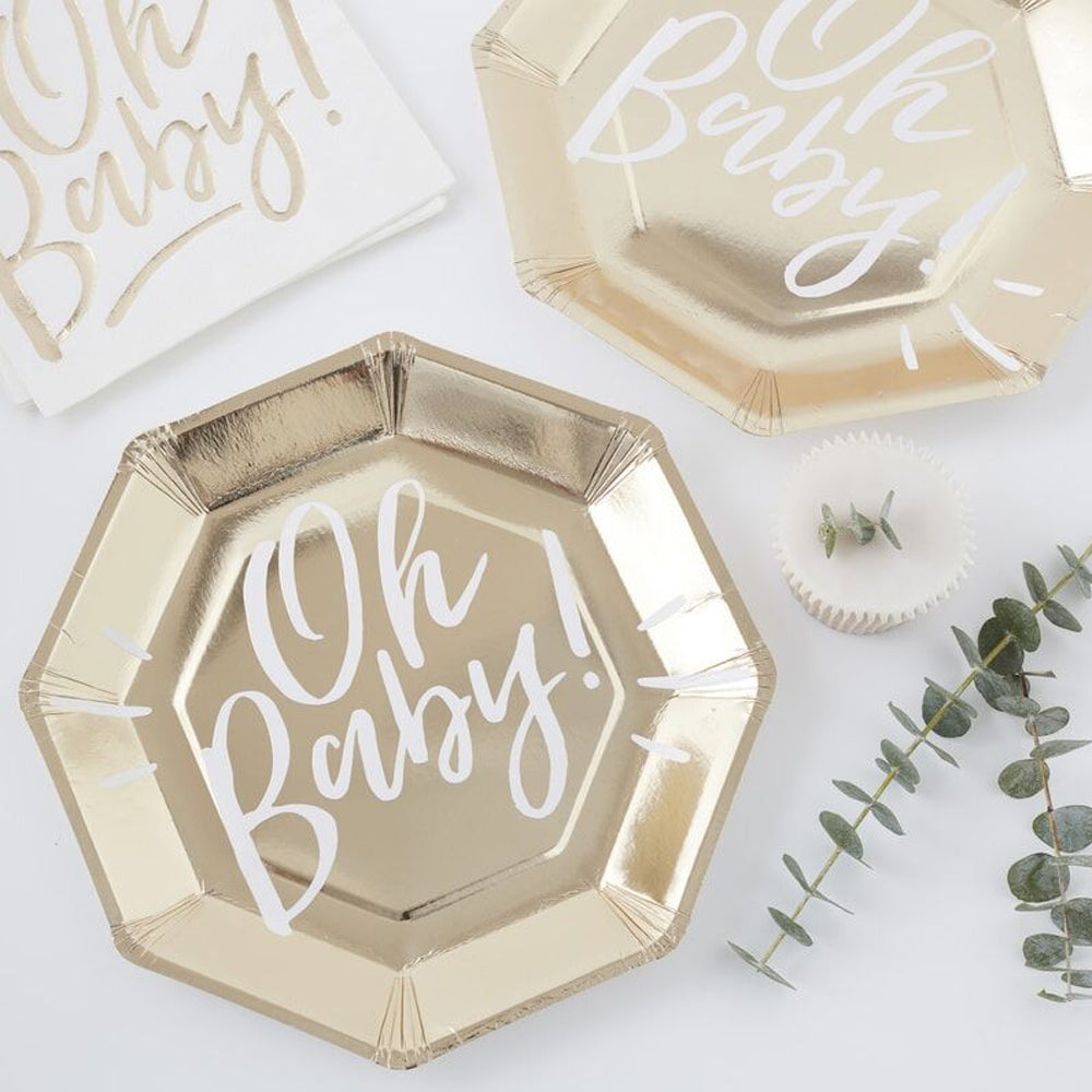 Oh baby Gold Plates - 25cm - Pack of 8