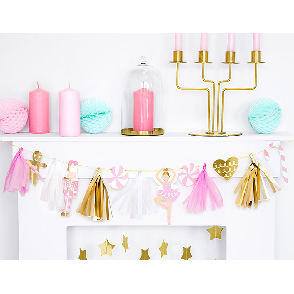 Pink Christmas Icons Garland Decoration - 1.3m