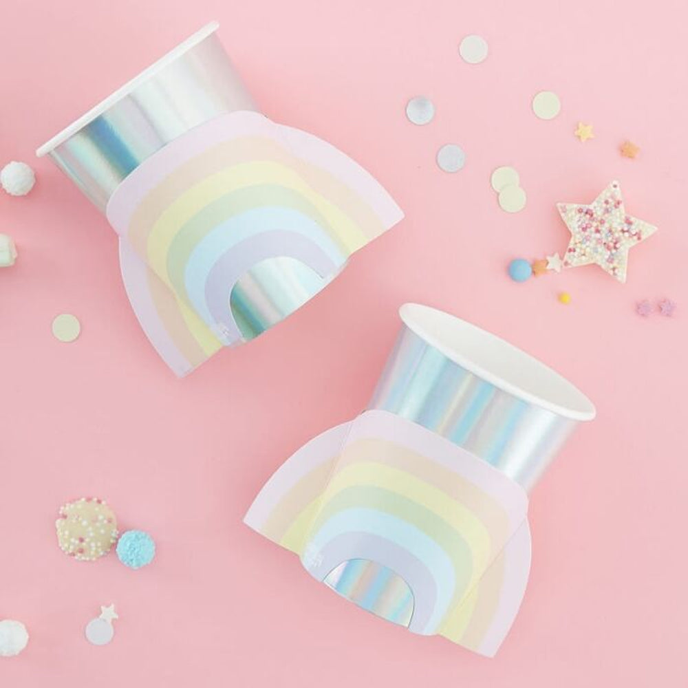 Pastel Rainbow Paper Cups - 9oz - Pack of 8