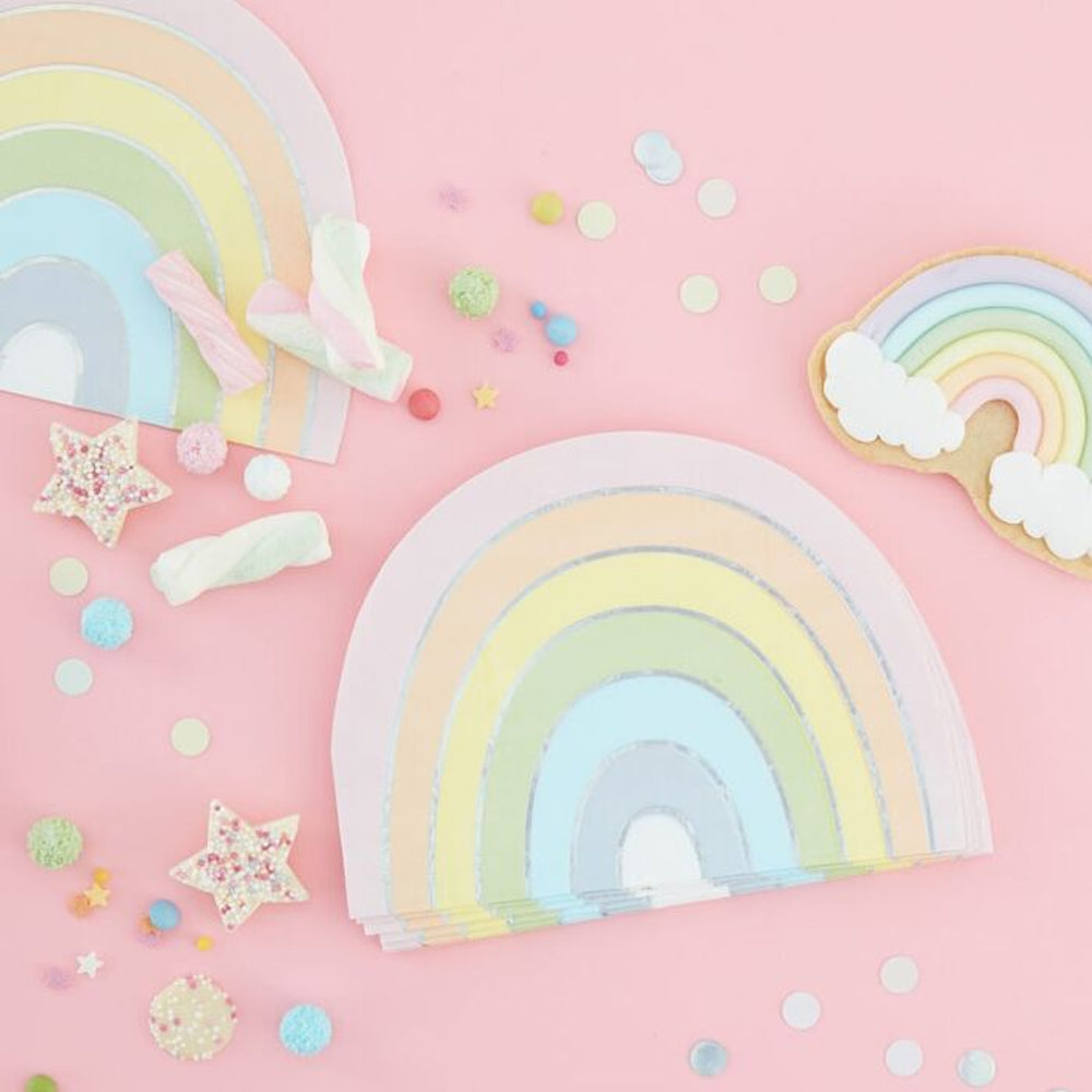 Pastel Rainbow Shaped Paper Napkins - 17cm - Pack of 16