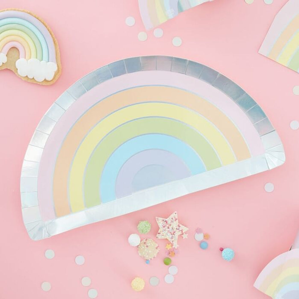 Pastel Rainbow Shaped Paper Plates - 28cm - Pack of 8