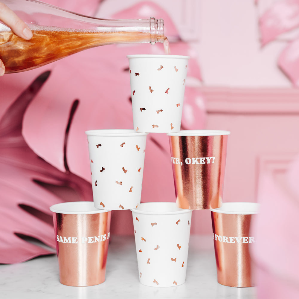 Rose Gold Hen Party Same Penis Forever Paper Cups - 220ml - Pack of 6