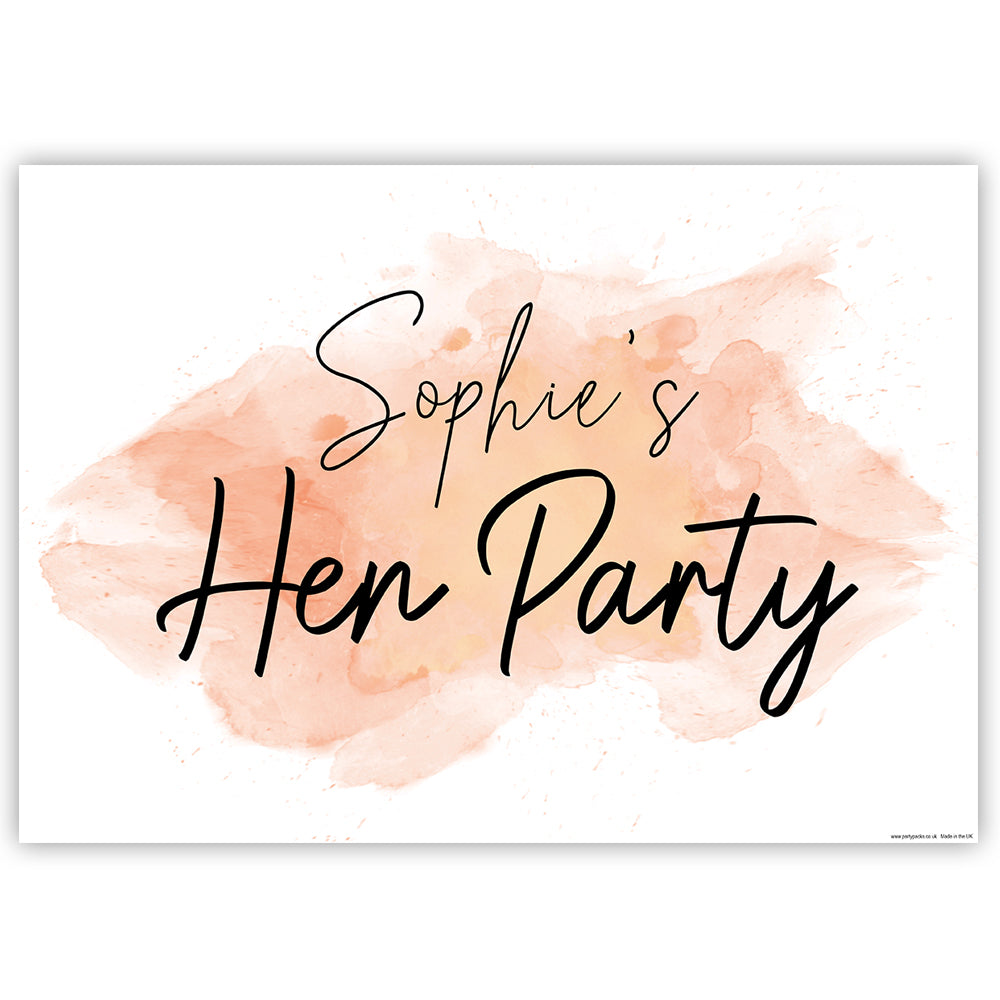 Blush Hen Party Personalised Poster - A3