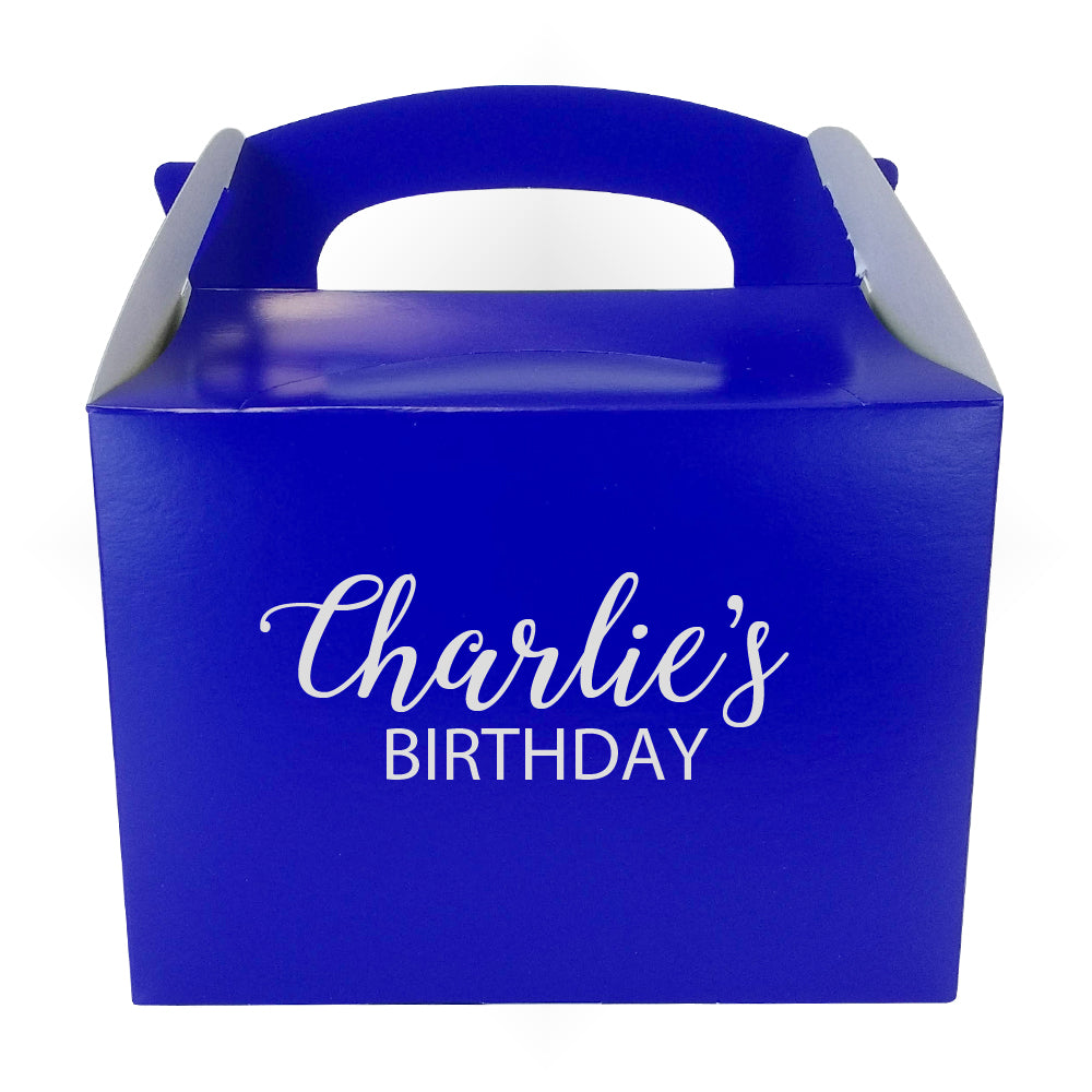 Personalised Party Boxes Blue with Silver Text - 2 Lines - Pack of 4